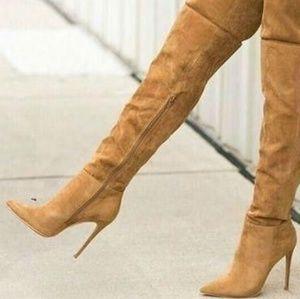 Thigh high suede heels